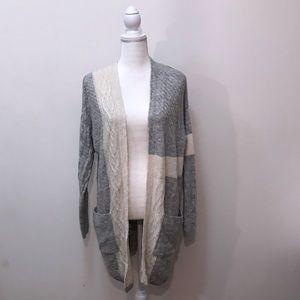 Topshop Gray White Long Knit Cardigan Sweater 6